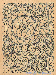 Pen Pattern Blooms Art Wood Mounted Rubber Stamp STAMPENDOUS Stamp R216 New