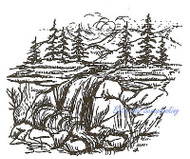 Pine Tree Waterfall Scene Wood Mounted Rubber Stamp Northwoods Rubber Stamp New