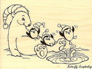 Polar Slide, Wood Mounted Rubber Stamp STAMPENDOUS, NEW - R209