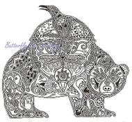 RAVEN BEAR Animal Spirit Cling Unmounted Rubber Stamp EARTH ART Sue Coccia New