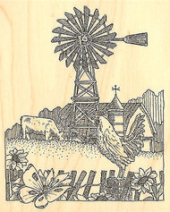 Rooster Windmill Wood Mounted Rubber Stamp IMPRESSION OBSESSION Stamp G1955 New