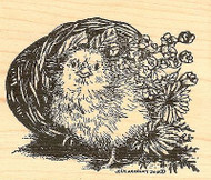 Sassy Chick In Basket Easter, Wood Mounted Rubber Stamp NORTHWOODS - NEW, M9708