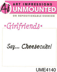 Say Cheesecake Unmounted Rubber Stamp with Cushion AI Art Impressions NEW
