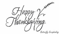 Script Happy Thanksgiving, Wood Mounted Rubber Stamp NORTHWOODS - NEW, J4487