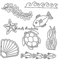 SEA Background Images Clear Unmounted Rubber Stamps EARTH ART Sue Coccia