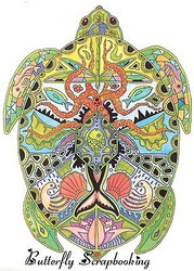 SEA TURTLE Animal Spirit Unmounted Rubber Stamp EARTH ART Sue Coccia New