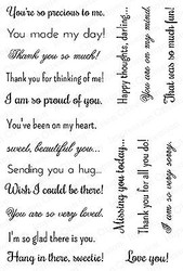 SENTIMENTS SET Clear Unmounted Rubber Stamp Set Impression Obsession CL492 NEW