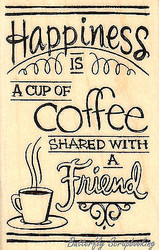 Shared Coffee Text, Wood Mounted Rubber Stamp STAMPENDOUS, NEW - M308