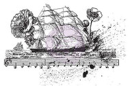 SHIP MUSIC COL Treasured Memories Cling Unmounted Rubber Stamp Prima 580162 New