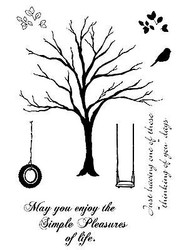 Simple Pleasures Tree Unmounted Red Rubber Cling Stamps Impression Obsession New