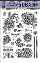 Simply Susan Flowers 21 Stamps Clear Unmounted Rubber Stamps Set HOTP 1123 New