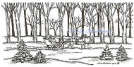 Sleigh In Forest Moonlight, Wood Mounted Rubber Stamp NORTHWOODS - NEW, O9361
