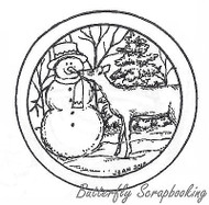 Snowman And Deer In Circle, Wood Mounted Rubber Stamp New NORTHWOODS - CC7740