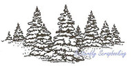 Snowy Trees, Wood Mounted Rubber Stamp NORTHWOODS - NEW, J687