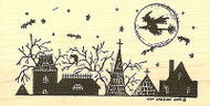 Spooky Rooftops Halloween, Wood Mounted Rubber Stamp NORTHWOODS - NEW, O6710