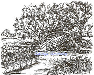 Spring Arrival Bridge, Wood Mounted Rubber Stamp NORTHWOODS, NEW - P381