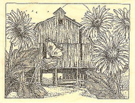Spring Barn, Wood Mounted Rubber Stamp IMPRESSION OBSESSION - NEW, H1982