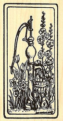 Spring Water Pump In Frame, Wood Mounted Rubber Stamp NORTHWOODS - NEW, O9763