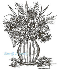 Sunflower And Cattail Vase Wood Mounted Rubber Stamp Northwoods Rubber Stamp New