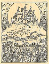 SWAN CASTLE Wood Mounted Rubber Stamp Impression Obsession NEW
