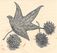 Sweet Gum Wood Mounted Rubber Stamp IMPRESSION OBSESSION Leaf Leaves Nature New