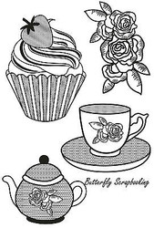 Tea Party Collection 4 Clear Unmounted Rubber Stamps by Kaisercraft NEW