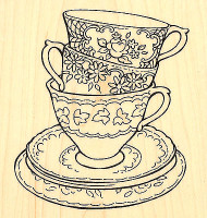 TEACUP TRIO Posies Flowers Wood Mounted Rubber Stamp STAMPENDOUS Stamp W138 New