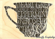 Teacup With Words, Wood Mounted Rubber Stamp IMPRESSION OBSESSION - NEW, E13256