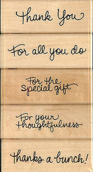 THANKS MESSAGES SET 5 Wood Mounted Rubber Stamp Set STAMPENDOUS #SWS046 NEW