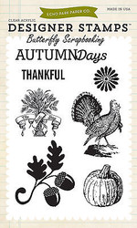 Thanksgiving Autumn Clear Unmounted Rubber Stamps Set Echo Park  EPSTAMP11 New
