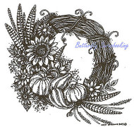 Thanksgiving Autumn Wreath Wood Mounted Rubber Stamp NORTHWOODS PP9612 New