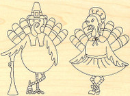 Thanksgiving Turkey Pilgrims Wood Mounted Rubber Stamp IMPRESSION OBSESSION, NEW
