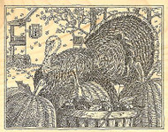 Thanksgiving TURKEY Wood Mounted Rubber Stamp Impression Obsession H1998 NEW