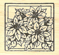 Three Poinsettias Christmas, Wood Mounted Rubber Stamp NORTHWOODS - NEW, CC8241