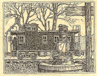 Train Station & Lantern Wood Mounted Rubber Stamp Impression Obsession H1869 NEW