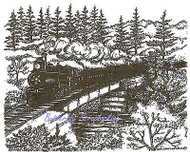 Train Trestle Bridge Scene Wood Mounted Rubber Stamp Northwoods Stamp P9552 New