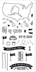 TRAVEL OUR ADVENTURES Clear Unmounted Rubber Stamp Set INKADINKADO 60-31256 NEW