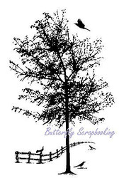 Tree With Fence And Birds Cling Unmounted Rubber Stamp MAGENTA C0669-K NEW