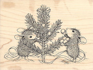 Trim The Tree Christmas HOUSE MOUSE Wood Mounted Rubber Stamp STAMPENDOUS HMR04