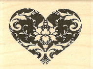 Valentine Demask Heart Wood Mounted Rubber Stamp Impression Obsession NEW
