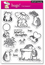 Valentine Hugs Clear Unmounted Rubber Stamp Set PENNY BLACK 30-020 New