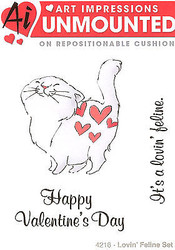 Valentine's Cat Love Unmounted Rubber Stamps with Cushion AI Art Impressions NEW