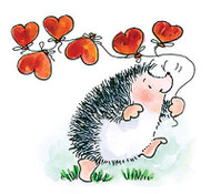 Valentines Day Hedgehog Hearts Wood Mounted Rubber Stamp PENNY BLACK 3609H New