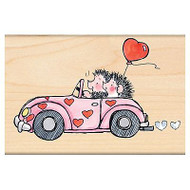 Valentines Hedgehogs Joyride, Wood Mounted Rubber Stamp PENNY BLACK - NEW, 4230K