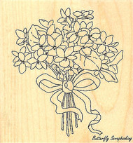 Violet Bouquet Wood Mounted Rubber Stamp Impression Obsession Stamp F9305 New