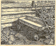 Wagon By The Porch Scene Wood Mounted Rubber Stamp Impression Obsession NEW