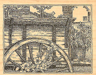 Wagon Wheel Scene Wood Mounted Rubber Stamp Impression Obsession NEW