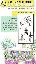 Water Color Tree Set Unmounted Rubber Stamp Set With Cushion Art Impressions NEW