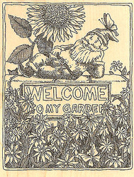 Welcome Garden Gnome Wood Mounted Rubber Stamp Impression Obsession NEW