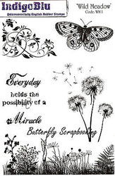Wild Meadow Flowers Set Cling Unmounted Rubber Stamps IndigoBlu Stamp WM1 NEW